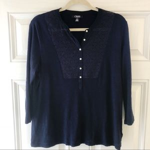 Chaps 3/4 Sleeve Navy Blue Top